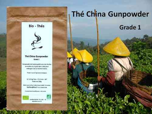 Thé China Gunpowder Grade 1 Bio 100g